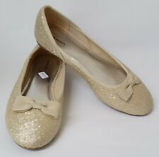 Lands End Shoes Flats Ballet Gold Textured Bow Womens Size 8M