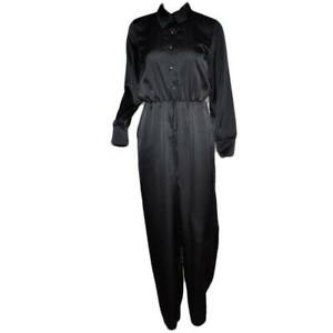 Tuta donna nera in raso intera jumpsuit manica lunga pantalone morbido bottoni s