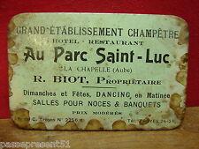 Ancienne glace, miroir publicitaire, Au parc Saint-Luc, La Chapelle, R.BIOT