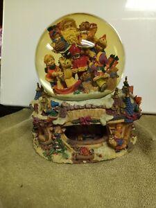 """Jolly Old Saint Nicholas"" Large Musical Snow Globe w/ Rotating Base Rare"