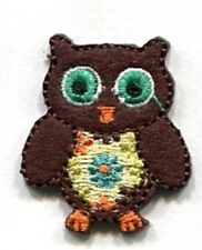 OWL WITH FLOWERS IRON ON BIRD PATCH APPLIQUE