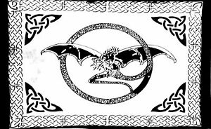 Black & White Fly Dragon Animal Screen Printed Wall Hanging Poster Tapestry Art