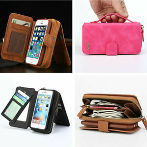 Stylish Flip PU Leather Zipper Purse Pouch Wallet Phone Case For iPhone Samsung