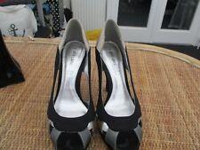 """""""love label"""" ladies black/silver/beige satin eve  shoes  sz 4"""