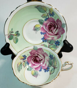 Paragon Pink Cabbage Rose Footed Tea Cup & Saucer Mint Green A644