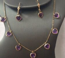 Ladies 14k Yellow Gold Amethyst Necklace and Earring set