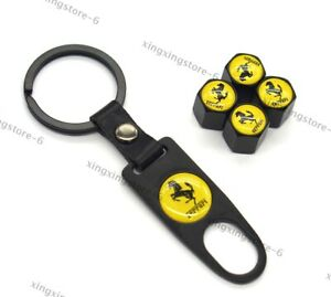 4x Car Keychain For Ferrari Styling Logo Wheel Tire Valve Caps Air Valve Covers