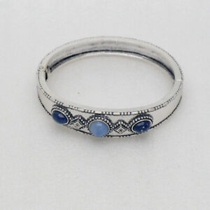 Chico's jewelry antique silver plated magnetic bangle blue beads for women girls