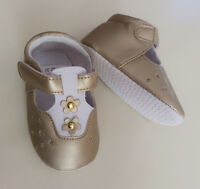 NEW Baby Girl Boy Unisex Luxury Gold Shoes Size 6-18 months 3/4