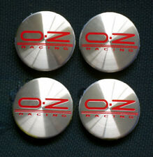 OZ RACING GENUINE CENTRE CAPS M582 BRUSHED ALLOY WITH RED OZ RACING LOGO