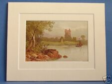 ROSS CASTLE KILLARNEY LAKES SUPERB QUALITY 1879 ANTIQUE DOUBLE MOUNTED PRINT