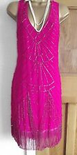 Jane Norman ❤️ Pink Beaded Tassel 1920's Flapper Gatsby Cocktail Dress Size 14
