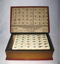 Beautiful Mah Jong Set in Leather book Box*144 Tiles Tiles / Bamboo