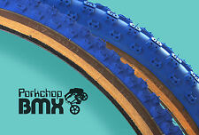 "Kenda Comp 3 old school BMX skinwall gumwall tires 24"" STAGGERED BLUE (PAIR)"
