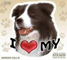 "I Love My Border Collie Dog 4"" Car Truck Home Vinyl Sticker Decal Pet Gift Usa"