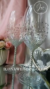 Swarovski Crystal Personalized Wedding Toast Bling Large Wine Glass Silver Gold