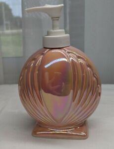 New Vintage Enesco Iridescent Clamshell Soap Lotion Pump Dispenser Rainbow Peach