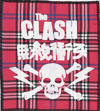 THE CLASH PINK TARTAN SEW ON PATCH JAPANESE SKULL LIGHTNING BOLT PUNK 1977