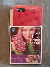 ~Cross Stitch Kit~Silicone Case~iPhone 5~4 Pattern Charts + 2 Blank Sheets~Red~