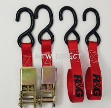 MOTORCYCLE  MOTORBIKE R&G Racing TIE DOWN 25mm RATCHET STRAPS  Pair  ST0699