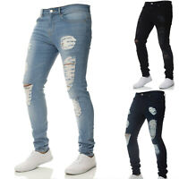 Men Stretch Ripped Skinny Jeans Distressed Frayed Slim Fit Biker Denim Pants 2XL