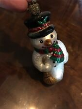 OLD WORLD CHRISTMAS SNOWMAN WITH BROOM GLASS ORNAMENT