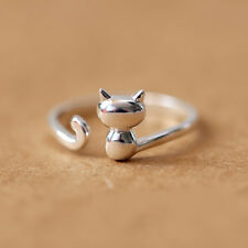 925 Silver Cute 3D Cat Rings For Women Jewelry Beautiful Adjustable Open Rings