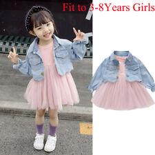 Summer Toddler Baby Girls Long Sleeve Tulle Dress+Swan Denim Jacket Coat Outfits