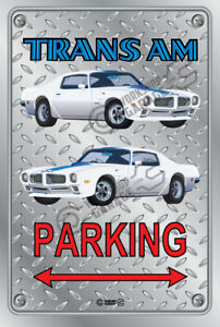 Parking Sign Metal - Checkerplate Look - PONTIAC TRANS AM 1970 WHITE