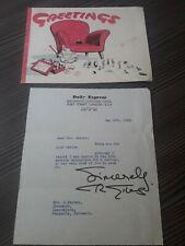 More details for cartoonist carl giles signed letter & vintage greetings card