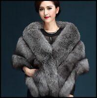 Womens Fox Fur Shawl Cape Coat Wedding Bridal Cloack Winter Jacket Outwear New