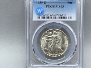 1939-D PCGS MS 63 Walking Liberty Half Silver Dollar! *Sight White Certified!*