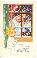 Original Vintage PC- Boy says Hello Santa Claus- In the Window- Merry Christmas