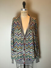 Missoni Size XL Blue, Brown, Olive Zig Zag Cardigan Sweater