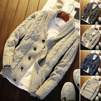 Men's Chunky Collared Cardigan Sweater Coat Shawl Thick Warm Knitted Jumper