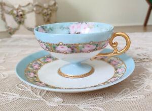 Antique LIMOGES Pink Roses Thin Porcelain Cup & Saucer Gold GILT Paste Enamel HP