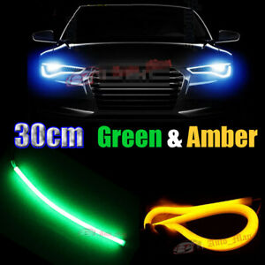 2x 30cm Green&Amber Car Motor Headlight Angel Eyes Flexible Decor LED Light Bar