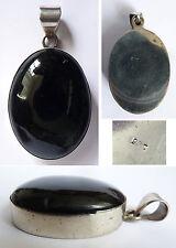 Pendentif en argent massif + onyx Bijou ancien silver pendant