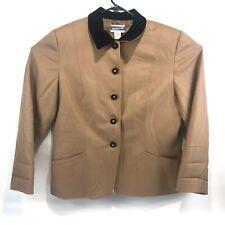 Pendleton Womens Jacket Blazer 100% Pure Laine Vierge Woolmark Brown Size 16