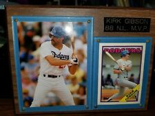 1988 PLAQUE WITH NATIONAL LEAGUE MVP KIRK GIBSON WITH A PHOTO AND TOPPS CARD.