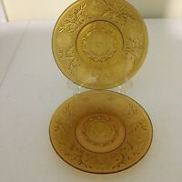 2 Indiana Glass Amber Tiara Sandwich Glass Saucers
