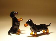 """Blown Glass """"Murano"""" Art Figurine Black and Brown Wiener Dog DACHSHUND pair"""