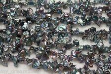 "Genuine 7-8mm Black Freeform Baroque Keshi Pearl Gems loose beads Strand 15"""