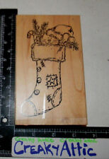 CAT IN A STOCKING PINE BRANCH CANDYCANE RUBBER STAMP THE RUBBERNECKER