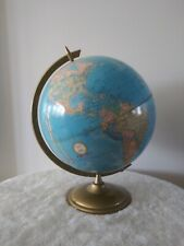 Vintage 12'' Cram's Imperial World Globe On Gold Metal Base Made in Usa