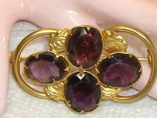 Antique English Victorian 9K rolled gold Amethyst Love Knot Pin Brooch c1800's