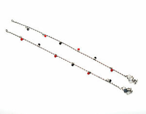 925 SILVER PLATED RED CORAL BLACK ONYX ANKLET-10 INCH 1 U996