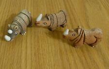 Set of 3 Vintage Handmade Peruvian Clay Rhinoceros Figurines Made in Peru