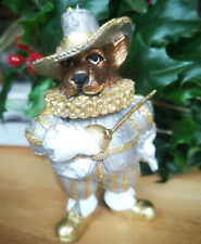 Bär silber Gold Figur 10.5 cm Glitzer Bear Weihnachts Hängen Weiß Dekofigur Deko