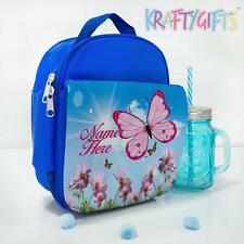 School Lunch Bag Pink Butterfly Sun Girls Blue Insulated *Personalised* SS001